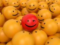 Abstract popularity concept many yellow balls with one red ball in the center Royalty Free Stock Images