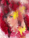 Abstract portrait beautiful woman watercolor, hand painted drawing