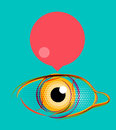 Abstract poster, stylized eye with empty speech Royalty Free Stock Photo