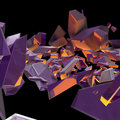 Abstract purple debris with an orange back light Royalty Free Stock Photography
