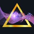 Abstract purple wave in gold triangle