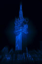 Abstract radiant neon blue telecommunications tower image Stock Image