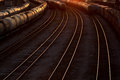 Abstract railroad tracks at sunset rail way Stock Photography