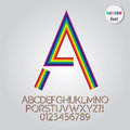 Abstract rainbow alphabet and digit vector set of Stock Photo