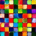 Abstract rainbow color paint tiles pattern art background Royalty Free Stock Photo