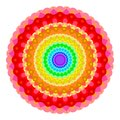 Abstract rainbow colored mandala, Flower isolated on white background, Fractal multicolor bloom, Colorful esoteric petal mandala