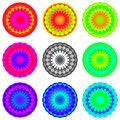 Abstract rainbow colored mandala set, Flowers isolated on white background, Multicolor blooms, Colorful esoteric petal mandalas