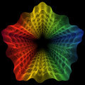 Abstract rainbow curved lines flower metamorphosis Royalty Free Stock Photo