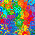 Abstract rainbow curved stripes color line art swirl pattern vector background Royalty Free Stock Photo