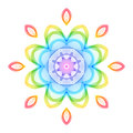 Abstract Rainbow Geometric Flower on White Backdrop. Royalty Free Stock Photo