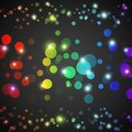 Abstract rainbow glowing circles with lights and dark background vector illustration for your funny design wallpaper for party Royalty Free Stock Images