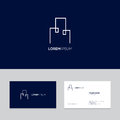 Abstract real estate logo design on business card template