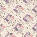 Abstract rectangle ornament seamless pattern. White background with dots. Purple and pink figures