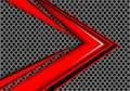 Abstract red arrow speed overlap on gray circle mesh design modern futuristic background vector.