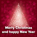 Abstract red christmas background with glowing tree merry card Stock Images