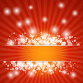 Abstract red christmas background with rays and snowflakes sparkles Stock Images