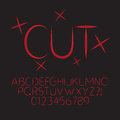 Abstract red cut alphabet and digit vector set of Royalty Free Stock Photography