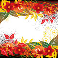 Abstract red floral background Stock Images