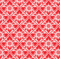 Abstract Red flower in square diamond pattern background Royalty Free Stock Photo