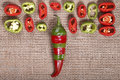 Abstract red green pepper bright background a Stock Photos