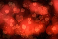 Abstract red hearts heart shapes over a romantic background Royalty Free Stock Image