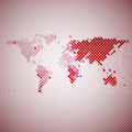Abstract Red Mosaic, World Map...