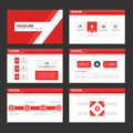 Abstract Red polygon infographic element and icon presentation templates flat design set for brochure flyer leaflet website Royalty Free Stock Photo