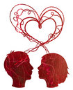 Abstract red silhouette of couple heads Stock Image