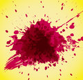 Abstract red splash on yellow background. Stock Photos