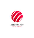 Abstract red sun, stripped vector logo template, round swirl simple logotype. Royalty Free Stock Photo