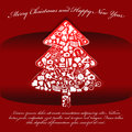 Abstract red vector christmas background with tree made up of many things Stock Images