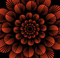 Abstract red vector flower in fractal style on black background, high contrasting decorative tile with 3d effect