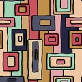 Abstract retro aboriginal vector seamless pattern