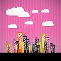Abstract retro paper city illustration with clouds and pink background Royalty Free Stock Image