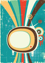 Abstract retro television vector poster old background Royalty Free Stock Images