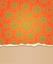 Abstract riped card with place for text bright orange pattern background and at the bottom Royalty Free Stock Photos