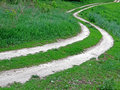 Abstract road line on green meadow,nature details, Royalty Free Stock Images