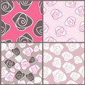 Abstract rose and four floral backgrounds Stock Photography