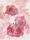 Abstract roses watercolor painting background Stock Photo