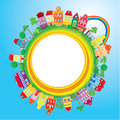 Abstract round banner with small fairy colorful to town on light blue sky background Royalty Free Stock Photography