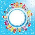 Abstract round banner with small fairy town on lig light blue sky background decorative colorful houses in winter time christmas Royalty Free Stock Photos