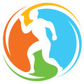 Abstract runner marathon running sportsman athletic man running healthy man running health concept icon Royalty Free Stock Image