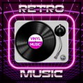 Abstract 80s retro background with gramophone and vinyl record Royalty Free Stock Photo
