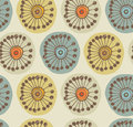 Abstract scandinavian seamless pattern fabric texture with decorative flowers background circle ornamental Stock Images