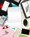 Abstract scrapbook design message background various objects letter Stock Photography