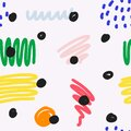 Abstract scribble pattern, hand drawn seamless background, contemporary abstraction, bright fun colors, brush strokes