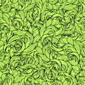 Abstract scrollwork seamless pattern, vector background. Green plants, grass, curls, waves. Natural stylized floral ornament. Hand Royalty Free Stock Photo
