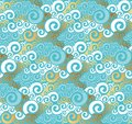 Abstract sea water seamless pattern. Art Nouveau gold and turquo Royalty Free Stock Photo
