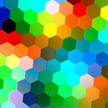Abstract Seamless Background with Colorful Hexagons. Mosaic Tile Pattern. Geometric Shapes. Repeating Tiles. Green Blue Red.