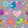 Abstract seamless background with original cute birds
